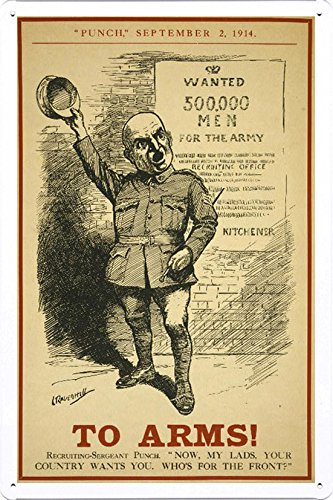 World War I One Tin Sign Metal Poster (reproduction) of To arms!
