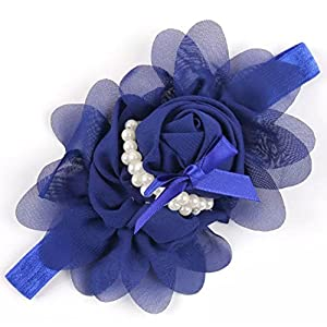 Ziory Blue Girls Chiffon Pearl Headband Baby Rose Satin Bow Hairband Pearl Rose Flower Hair Band Chiffon Lace Headband…