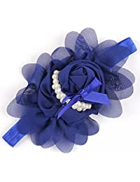 Ziory Blue Girls Chiffon Pearl Headband Baby Rose Satin Bow Hairband Pearl Rose Flower Hair Band Chiffon Lace Headband Ribbon Elasticity Hair Accessories