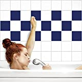 Fliesenaufkleber für Küche und Bad | Fliesenfolie für 15x15cm Fliesen | einfarbig dunkelblau matt | 32 Stück | Klebefliesen günstig in 1A Qualität von PrintYourHome