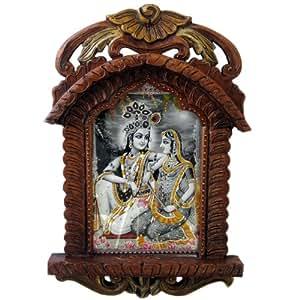 Little India Radha Krishna Wooden Photo Frame Jharokha  (Brown,HCF136)