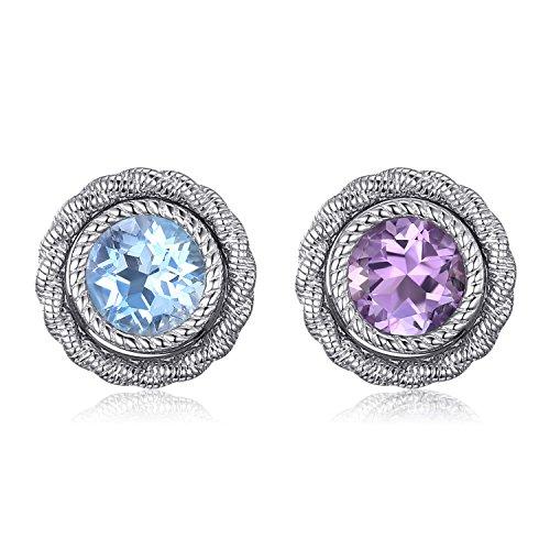JewelryPalace Solitario 5.7ct Viola Ametista Topazio Azzurro Rotondo Orecchini Giacca Set Argento 925