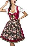 Dirndl Kleid Kostüm mit Herzausschnitt und Schnürung und Schürze aus Denim Stoff und Spitze Oktoberfest Dirndl rot/grün/weiß XL