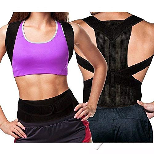 Rücken Korrektur Unterstützung des Rückens Rückenstütze für Männer und Frauen Verstellbare Haltungskorrektur (schwarz-L) -