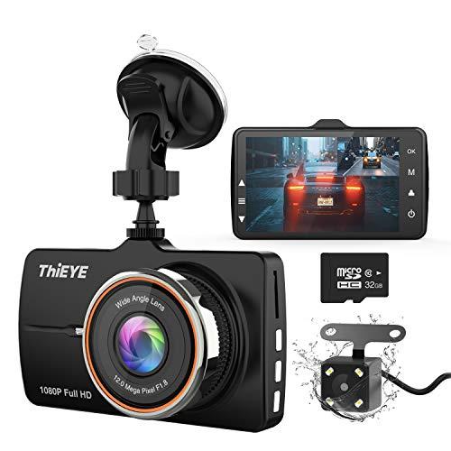 """ThiEYE Dashcam Dual Auto Kamera Full HD Vorne 1080P Hinten 720P Full HD mit 3.2\"""" IPS Bildschirm, 32G-SD-Karte,170°Weitwinkelobjektiv, G-Sensor, WDR, Loop-Aufnahme, Parkmonitor"""
