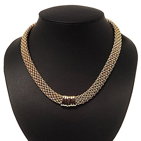 Gold Plated Mesh Magnetic Choker Necklace - 40cm