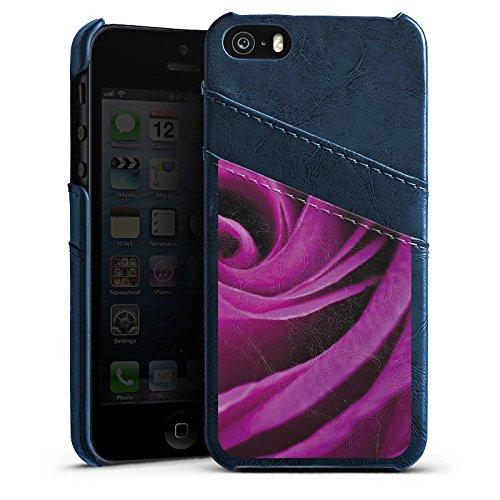Apple iPhone 4 Housse Étui Silicone Coque Protection Lilas Rose Fleur Étui en cuir bleu marine