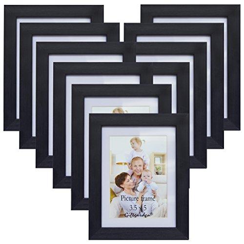 Giftgarden 10er Bilderrahmen Set MIT Passepartout 9x13, OHNE Passepartout 10x15, schwarz (Schwarz Und Weiß 10)
