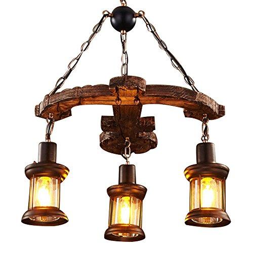 Metall Holz und Glas Kronleuchter Pendelleuchte Retro rustikale Loft Antik Lampe Edison Vintage Wandleuchte dekorative Leuchten und Deckenleuchte Leuchte (drei Lichter)