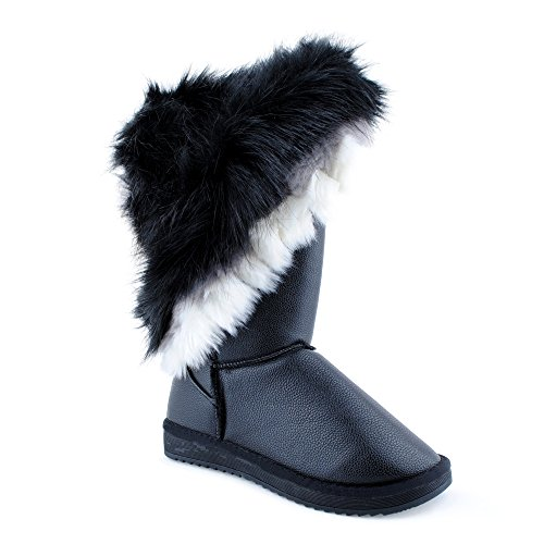Damen Schlupf Herbst Winter Stiefel Stiefeletten Velours-Optik Kunstfell Warm Gefüttert Boots Schuhe Schwarz-2 EU 39