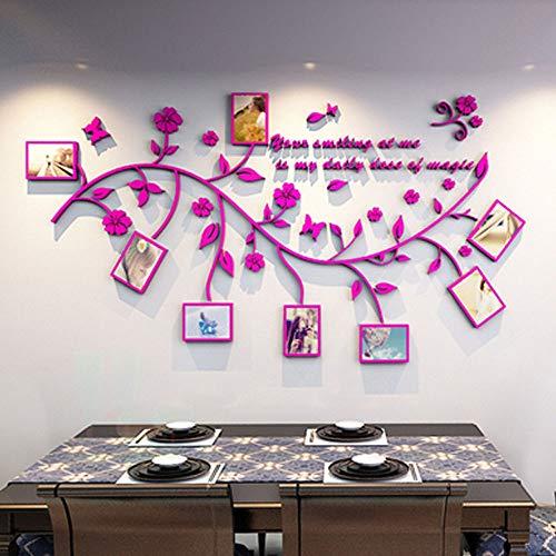 3D Pegatinas de Pared Vinilos Árbol con Hoja Purpura y Marcos de Foto Acrílico Adhesivos Pared Decorativos...