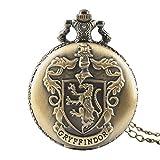 Gryffindor Logo Taschenuhr für Herren, Harry Potter Quarz-Taschenuhr mit Kette für Jungen, Kinder und Mädchen