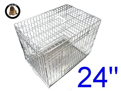 Ellie-Bo Dog Puppy Cage Folding 2 Door Crate with Non-chew Metal Tray Small 24-inch