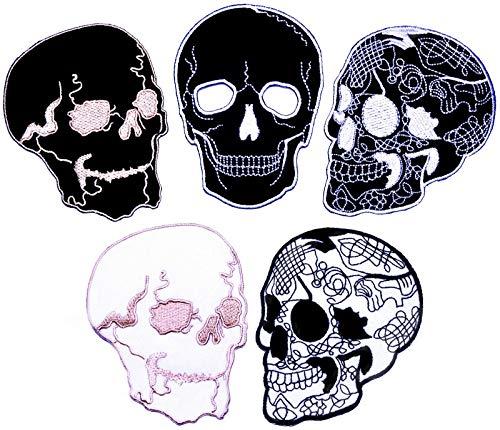 i-Patch - Patches - 0095 - Totenkopf - Schwarz - Live Free - Flicken - Aufnäher - Sticker - Badges - Flicken - Bügelbild - Aufbügler - Iron-on - Applikation - zum aufbügeln - Skelett - Patch - Skull - Skelett Biker-shirt