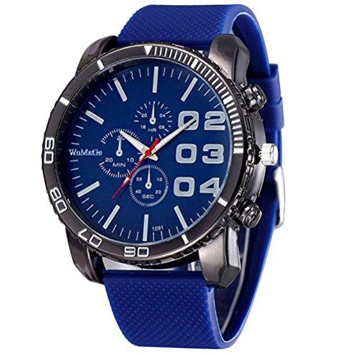 Amlaiworld Orologio sportivo uomo,Orologio sportivo di lusso elegante enorme grande quadrante Silicone Band (blu) - Quadrante Blu Unisex