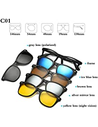 8c87c7e93b BuyWorld Fashion Optical Spectacle Frame Men Women With 5 Clip On Sunglasses  Polarized Magnetic Glasses For