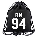 SIMYJOY BTS Fans Segeltuch Sporttaschen Bangtan Boys Gym Sack KPOP Jung Kook Rucksack Jimin Tasche V Beutel für Reisen Sport Schwarz 94 RM