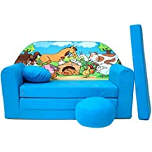 WELOX b5 KindersofaBettfunktion3in1-Kindersessel,Ausziehbett,hellblauBauernhof, Eierschalenfarbe