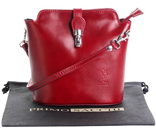Italienisch Weichleder, Kleine Cross Body oder Umhängetasche Handtasche. Enthält eine Schutzaufbewahrungstasche. Rot - glatt-Leder