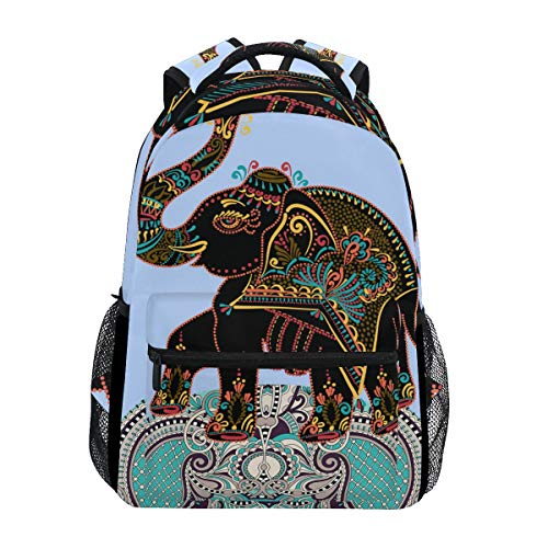 Ahomy Mochila Escolar Libro Bolsa para Teenager Niñas Niñas Niños África Arte Elefante Mochila de Viaje Satchel Bolsa de Senderismo para Mujeres Hombres