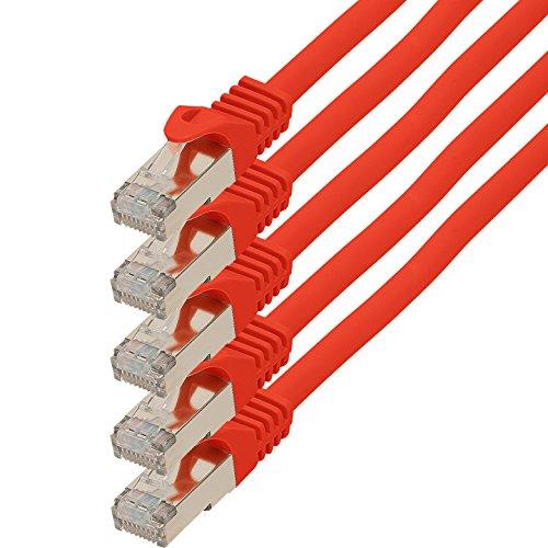 0,5m - rot - 5 Stück CAT.7 Netzwerkkabel (Rohkabel) Patchkabel S-FTP PIMF ( SET ) 10000Mbit/s RJ45 Stecker Cat6a kompatibel zu CAT5 CAT6 Router Modem Patchpanel Internet Smart TV Xbox