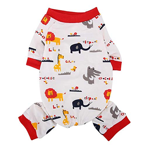 Semme Haustier Kostüm, Atmungsaktive Baumwolle Haustier Jumpsuit Cartoon Elefant Muster Hunde Pyjamas Weiche Welpen Kleidung(L) (Jumpsuit Kostüm Muster)