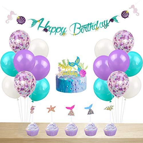 JOYMEMO Meerjungfrau Geburtstag Party Dekorationen für Mädchen Meerjungfrau Cake Topper, Happy Birthday Garland Banner, Konfetti Ballons für Baby Shower, Hochzeit Dekorationen