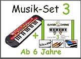Musik-Set 3: Kinder-Keyboard von Simba© + Klavierzwerge-Lern-Set 3 (Buntstifte, Zahlensticker, 2-Silikon-Armbänder) für Kinder ab 6 Jahre, Anfänger, Vorschulkinder