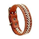 AZUO Männer Und Frauen Echte Leder-Armbänder, Männer Und Frauen General Urpose Manual Leather Adjustable Armband-Cuff Weave Wristband (5 Farben),Retroorange