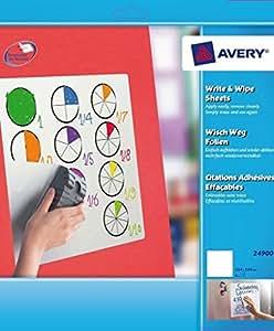 Avery - 24900 - 5 Feuilles Effaçables à Sec Adhésives et Repositionnables - 25,4cmx25,4cm