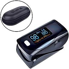 World Beauty's ELERA Portable Finger Pulse Oximeter with Case Fingertip Pulsioximetro a Finger SPO2 PR PI Oximetro de dedo - black with case