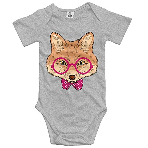 TKMSH Unisex Baby's Climbing Clothes Set Fox Bodysuits Romper Short Sleeved Light Onesies for 0-24 Months