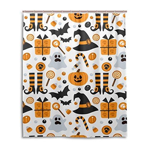 jstel Decor Vorhang für die Dusche Halloween Kürbis Geist Fledermaus Candy Muster Print 100% Polyester Stoff Vorhang für die Dusche 152,4x 182,9cm für Home Badezimmer Deko Dusche Bad Vorhänge (Halloween-long Geist Beach)