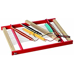 Beluga Spielwaren 10018 - Webrahmen aus Holz, Webbreite: 30 cm, natur-rot