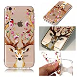 iphone 6 Hülle,iphone 6S Case, iphone 6 6S Schutzhülle Case Silikon, Cozy Hut Kunst Malerei Muster Ultra Slim Transparent/Schützend/Weich/Ultra Hybrid/Schock Absorption/Kratzfest Backcover Handyhülle TPU Case für iphone 6/6s 4.7 Zoll - Sika Hirsch