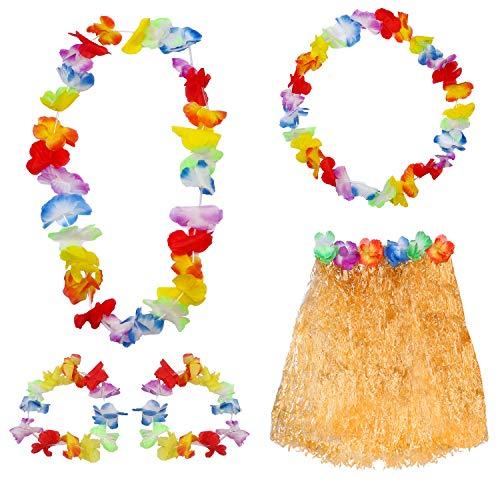 Haichen Hula Grass Rock mit Blume Leis Armbänder Stirnband Halskette Mädchen Frauen Hawaiian Kostüm Set für Tropical Hawaii Luau Theme Party (Halloween-kostüm Luau Hawaiian)