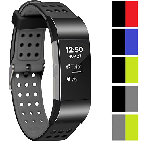 Greatfine Replacement Wrist Band for Fitbit Charge 2 Armband Sport Smart Watch Silikon Strap Fitness Tracker Uhrenarmband Ersatzband Bügel für Fitbit Charge 2 (Black grey)