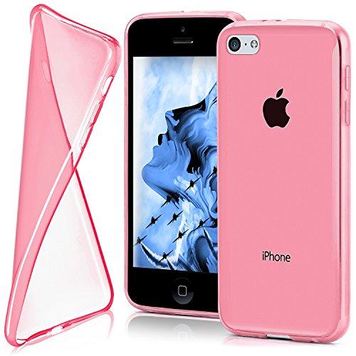 iPhone 5C Hülle Silikon Transparent Rosa [OneFlow Clear Back-Cover] TPU Schutzhülle Dünn Handyhülle für iPhone 5C Case Ultra-Slim Silikonhülle Rückseite BERRY-FUCHSIA