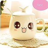 Keramik Tasse, Cozyswan Kaffeetasse Teetasse Becher Ceramic Mug mit Deckel und 1 Löffel Geschenk (cute)