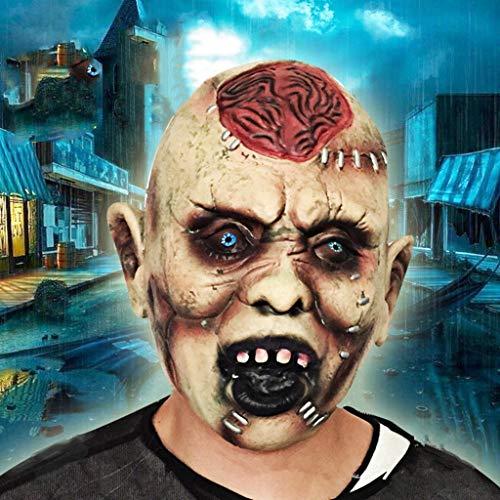Ghost Kostüm Nähen Keine - BLUEDYYY Scary Cosplay Kostüm Party Horror Maske Zombie Halloween Requisiten Dekoration Requisiten Bloody Monster Walking Dead Ghost Latex Gehirn Exposition Nähen Gesicht,A