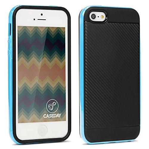 URCOVER® Hybrid Case Carbon Style Housse de Protection | Apple iPhone SE / 5s /5 | Plastique et Silicone en Rouge | Bumper Coque Double-couche Ultra-mince Étui Anti-chocs Cover Compléte Bleu