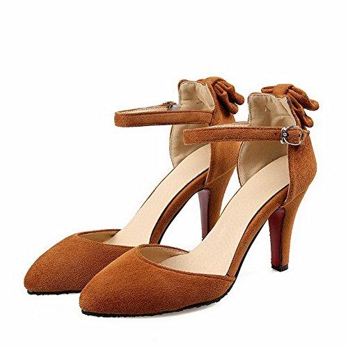 Chaussures Talon Unie Haut à Pointu Femme Boucle Légeres AgooLar Couleur Dépolissement Jaune qxpX4gnwz