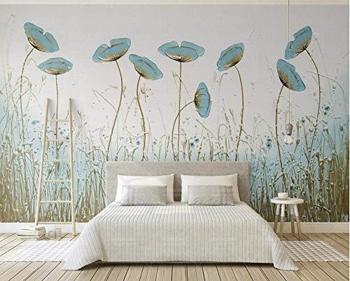 WORINA Europäischen Stil Pfefferminze Grüne Blume Tapeten Wandbild für Wohnzimmer Schlafzimmer Home Decor Größe Floral Murals 3D 430x300_cm_ (169,3_by_118,1_in_) _