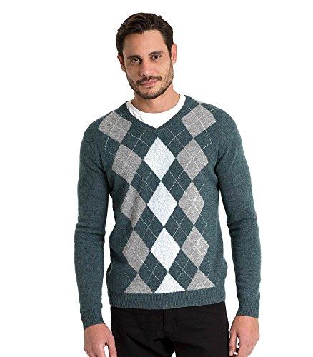 Argyle Pullover Mit V-ausschnitt (WoolOvers Pullover mit Argyle-Muster und V-Ausschnitt aus Lammwolle für Herren Kiltamagh/Cream/Blue, M)
