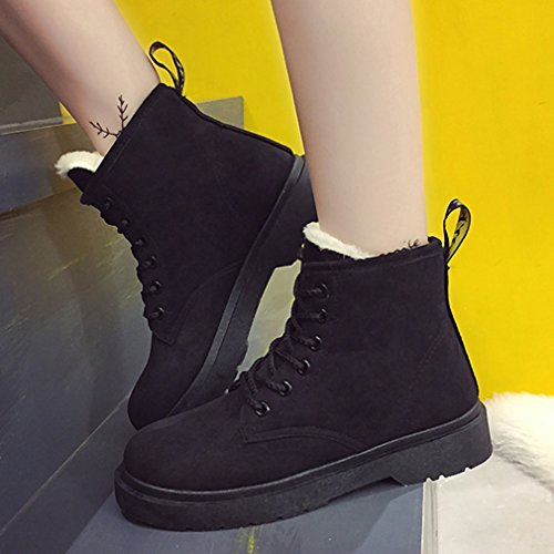 Y-BOA Hiver Anglais Martin Boots Femme Punk PU Chaussures Bottes Velours Doublure Lacet Motard Noir