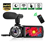 Videokamera Camcorder WiFi Vlog Kamera Camcorder mit Mikrofon IR Nachtsicht Full HD 1080P 30FPS 3 'LCD Touchscreen Vlogging Kamera für YouTube mit Fernbedienung