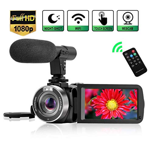 Videokamera Camcorder WiFi Vlog Kamera Camcorder mit Mikrofon IR Nachtsicht Full HD 1080P 30FPS 3 'LCD Touchscreen Vlogging Kamera für YouTube mit Fernbedienung 1080p Lcd