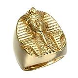 BOBIJOO Jewelry - El Anillo De Sellar El Faraón del Antiguo Egipto Tutankamón Dorado De Oro Final El Hombre De Acero - 19 (9 US), Dorado - Acero Inoxidable 316