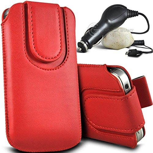 Brun/Brown - Vodafone Smart 4G Housse et étui de protection en cuir PU de qualité supérieure à cordon avec fermeture par bouton magnétique et stylet tactile pour par Gadget Giant® Rouge/Red & Car Charger
