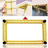 Herramientas de mano Regla de escala de plantilla de ángulo múltiple de herramienta de medición plegable de cuatro lados